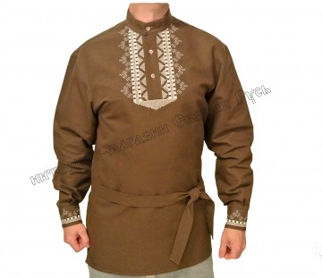 Brown russian shirt with embroidery,  Holy Russia