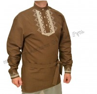 Brown russian shirt with embroidery