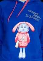 "Sweat shirt-hoodies ""bunny"" (Blue)"