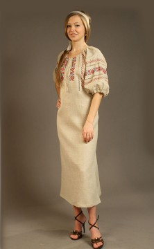 Linen dress with embroidered, Holy Russia